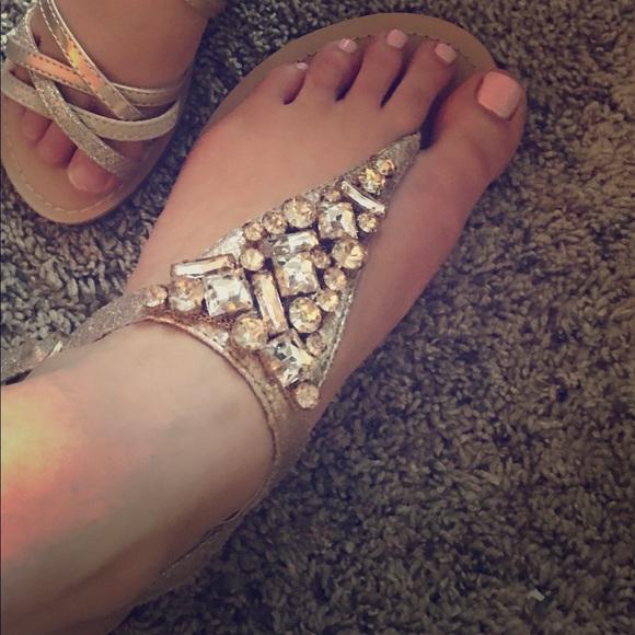 599008e8330 David s Bridal Shoes - David s Bridal Jeweled Metallic Sandals- Style Rio
